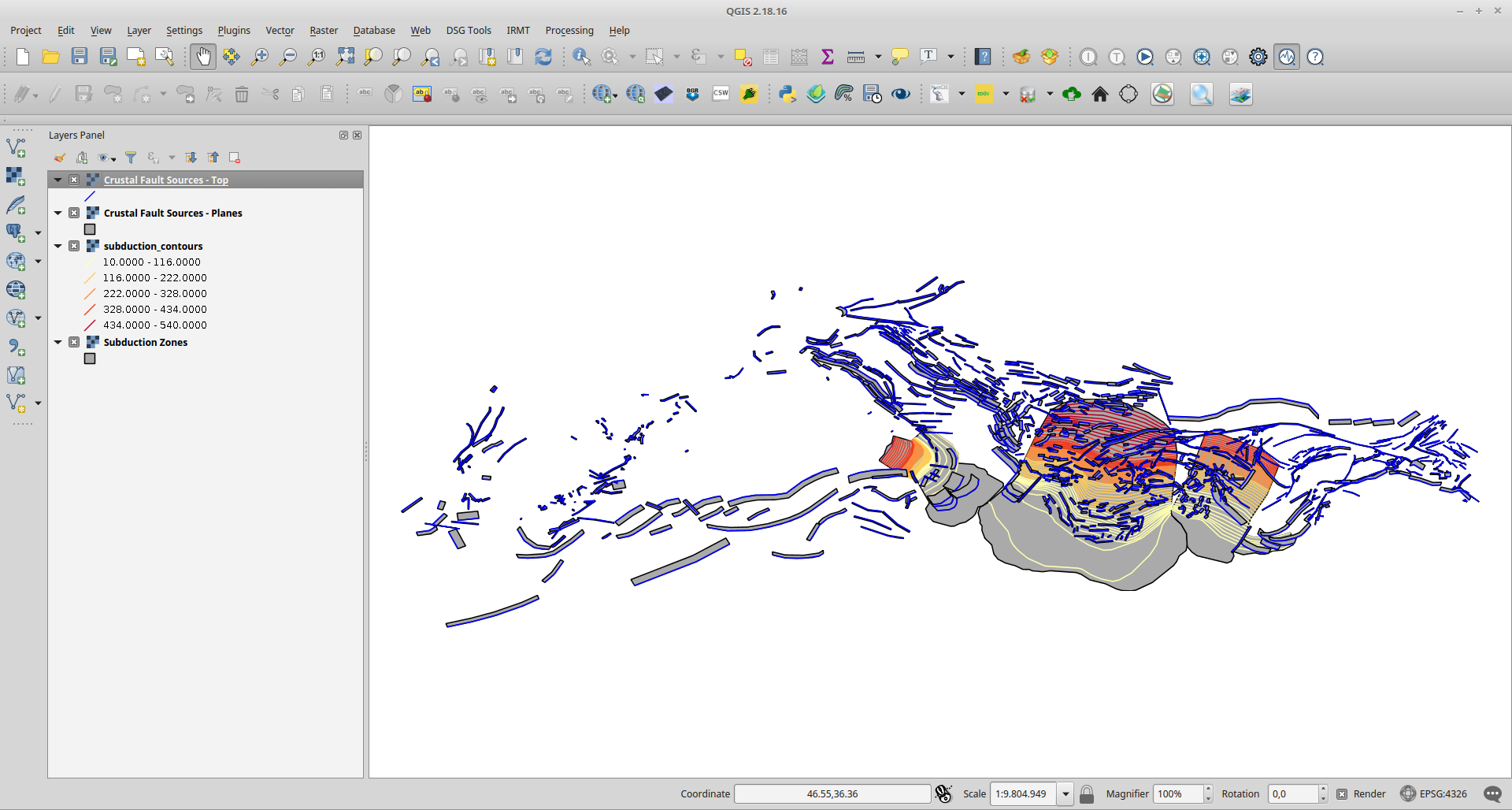 EDSF on QGis canvas
