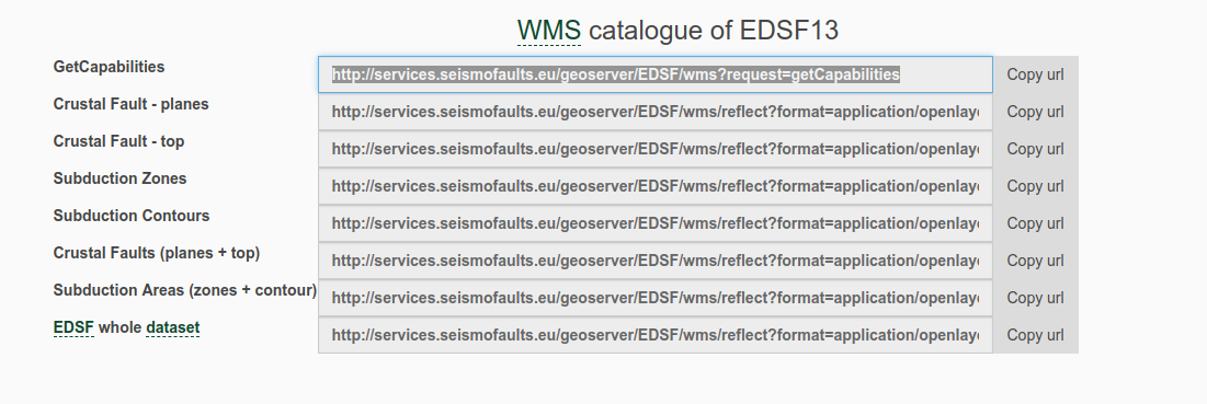 WMS catalogue of EDSF
